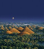 Moonrise, Chocolate Hills, natural wonder, Bohol Island, Philippines