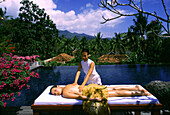 Woman getting a massage in a resort, The Farm, Batangas Province, Philippines, Asia