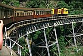 Nostalgic train on a bridge, Kuranda, Queensland Australia