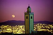 Moonrise over mosque Imam Malik, Ville Nouvelle, Fes, Morocco, North Africa