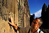 Secured apsara relief, German conservation team, Angkor Wat, Siem Raep Cambodia, Asia