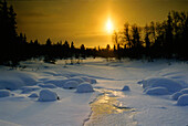 Winterlandschaft bei Sonnenuntergang, Lappland, Norwegen, Skandinavien, Europa
