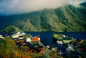 Blick auf Fischerdorf am Nusfjord, Lofoten, Norwegen, Skandinavien, Europa