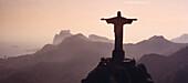 Aerial view of Corcovado statue at sunset, Rio de Janeiro, Brazil, South America, America