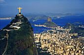 Aerial view of corcovado statue and sugarloaf, Rio de Janeiro, Brazil, South America, America