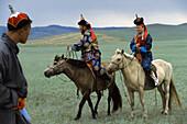 Mongolian couple, Gobi Desert, Mongolia, Asia