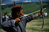 Archer, Nadaam festival, Ulan Bator, Mongolia Asia
