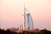 Burj al arab at dusk, Luxury Hotel, Dubai, United Arab Emirates