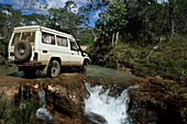 River crossing with 4WD, Telegraph Track, Cape York Peninsula, Outback, Queensland, Australia