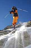 Person skiing, jumping in the air, Freeskiing, Skiing, Winter sports