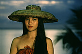 Young woman wearing a hat, Bohol Island, Visayas, Philippines, Asia