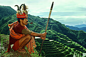 Ifugao warrior, rice terraces, Banaue, Luzon Island Philippines, Asia