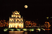 The illuminated Thap Rua temple at night, Hanoi, Vietnam, Asia
