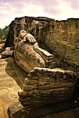 Lying buddha figure made of stone, Gal Vihara, Polonnaruwa, Sri Lanka, Asia