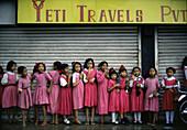 Schoolgirls in Kathmandu, Kathmandu, Nepal Asia