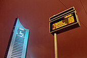 Tramway timetable display in front of City Highrise, Leipzig, Saxony, Germany
