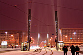 Augustus Square at night in the wintertime, Leipzig, Saxony, Germany