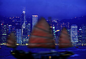 Junk Ship, Hongkong skyline by night, Hongkong, China