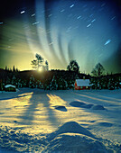 Polar light and moonrise, Lillehammer, Norway