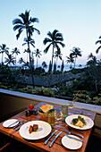 Hotel Hana-Maui Dinner, Ahi Tuna Tower & Nashi Salad, Hana, Maui, Hawaii, USA