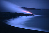Kilauea Lava Flow at Dusk, Volcanoes National Park, Big Island Hawaii, Hawaii, USA