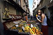 Girl at Citrus Stand, Sorrento, Campania, Italy