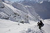 Skier in exreme terrain, Nebelhorn, Oberstdorf, Upper Bavaria, Germany