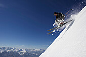 Male skier jumping, Nebelhorn, Oberstdorf, Upper Bavaria, Germany