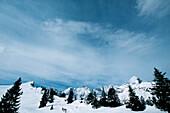 Skiing tour, raising high to Stuibenkopf, Alpspitze, Garmisch Partenkirchen, Germany