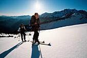Skiing tour, raising high on Griesskar, Alpspitze, Garmisch Partenkirchen, Germany