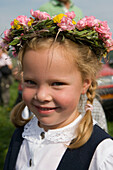 Girl with Flower Headdress, Hilders Simmershausen, Rhoen, Hesse, Germany