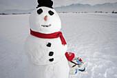 Girl 5-6 Years, lean against snowman