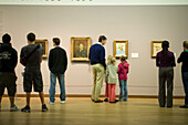 Visitors, Van Gogh Museum, Visitors looking at paintings of van Gogh, rear view, Van Gogh Museum, Amsterdam, Holland, Netherlands