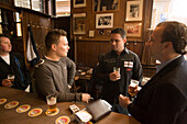 Men, Drinking, Hoppe, Proeflokaal, Men drinking beer, Hoppe Proeflokaal, , bruin or brown cafe, Spui, Amsterdam, Holland, Netherlands