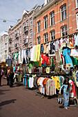 Market Stalls, Albert Cuypstraat Market, A market stall for clothes at Albert Cuypstraat Market, Amsterdam, Holland, Netherlands