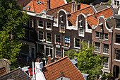 Houses, Jordaan, View from Westerkerk church tower to typical gabled houses in Jordaan, Amsterdam, Holland, Netherlands