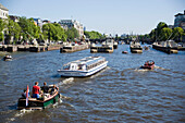 Leisue Boats, Amstel, A lot of leisue boats on Amstel, Amsterdam, Holland, Netherlands