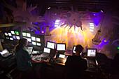 DJs, Escape, Discotheque, Rear view of DJs, Escape, a discotheque at Rembrandtplein, Amsterdam, Holland, Netherlands