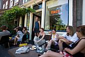 Guests, Cafe Finch, Jordaan, People sitting in open air Cafe Finch, Jordaan, Amsterdam, Holland, Netherlands