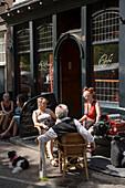 Guests, Cafe Slyterie, Noorderkerkplein, Jordaan, People sitting in front of Cafe Slyterie, Noorderkerkplein, Jordaan, Amsterdam, Holland, Netherlands