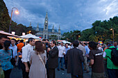 People in front of City Hall during Music Film Festival, Vienna, Austria