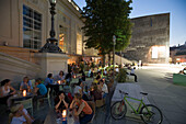 Bar in front of Kunsthalle Wien at MuseumsQuartier in the evening, Vienna, Austria