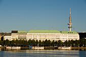 Inner Alster at Neuer Jungfernstieg with television tower, Hamburg, Germany