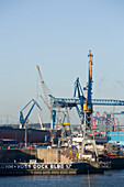 Bloom and Voss dockyard, View to the Bloom & Voss-Werft dockyard, at Landungsbruecken, Hamburg, Germany