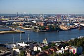 View over the Landungsbruecken to the swimming docks of the Bloom & Voss dockyard, , Hamburg, Germany