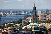 View to St. Michaelis church the and harbour in the background, Hamburg, Germany