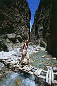 Hiker, Bridge, Samaria Gorge, Crete, Greece