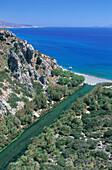 Pal trees, mouth of Megelopotamos, Beach of Preveli, Crete, Greece