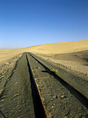 Railway tracks in front of sanddune, Namibia, Africa