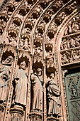 Details prophet statues, of the main portal of the west facade, Details prophet statues, of the main portal of the west facade, Our Lady's Cathedral Cathedrale Notre-Dame, , Strasbourg, Alsace, France